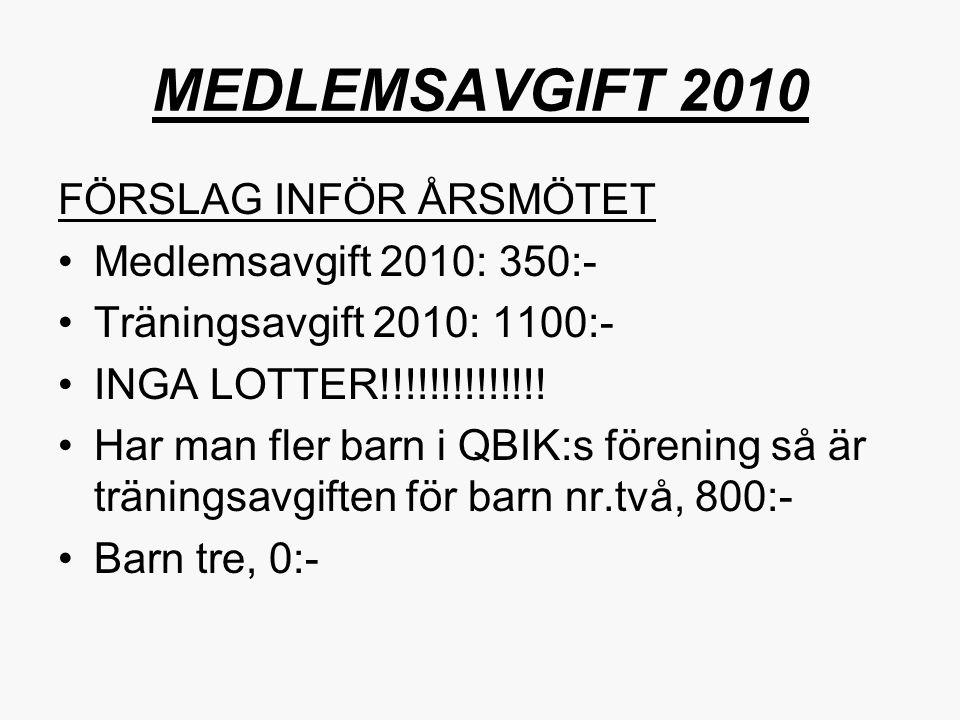 MEDLEMSAVGIFT 2010 FÖRSLAG INFÖR ÅRSMÖTET Medlemsavgift 2010: 350:-
