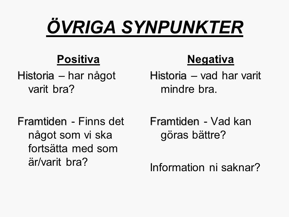ÖVRIGA SYNPUNKTER Positiva Historia – har något varit bra