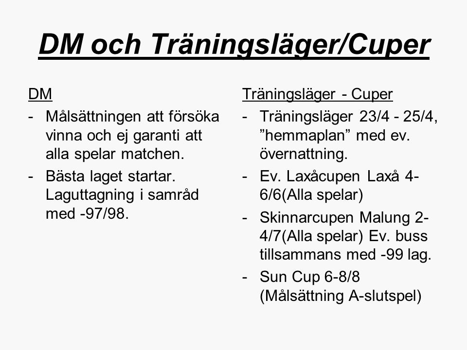 DM och Träningsläger/Cuper
