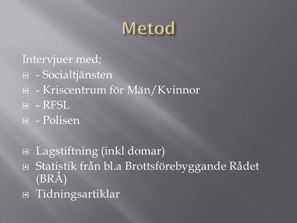 Metod Intervjuer med; - Socialtjänsten - Kriscentrum för Män/Kvinnor