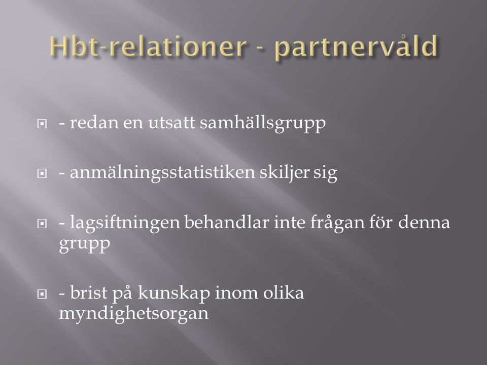 Hbt-relationer - partnervåld