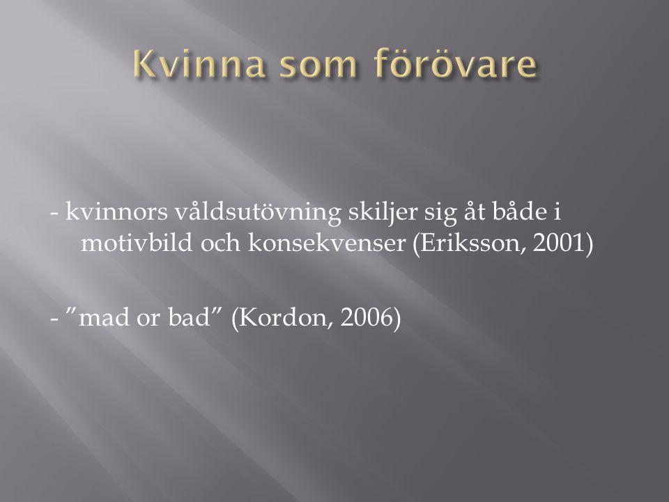 Kvinna som förövare - kvinnors våldsutövning skiljer sig åt både i motivbild och konsekvenser (Eriksson, 2001)