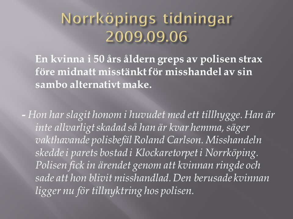 Norrköpings tidningar 2009.09.06