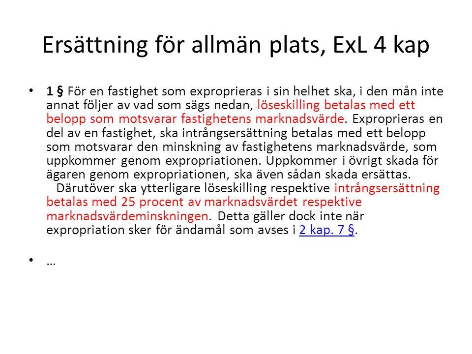Ersättning för allmän plats, ExL 4 kap