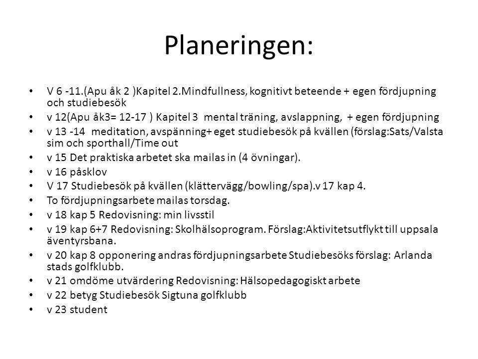 Planeringen: V 6 -11.(Apu åk 2 )Kapitel 2.Mindfullness, kognitivt beteende + egen fördjupning och studiebesök.