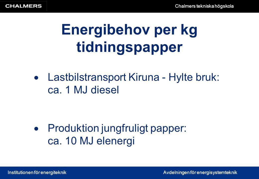Energibehov per kg tidningspapper
