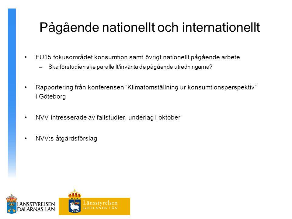 Pågående nationellt och internationellt