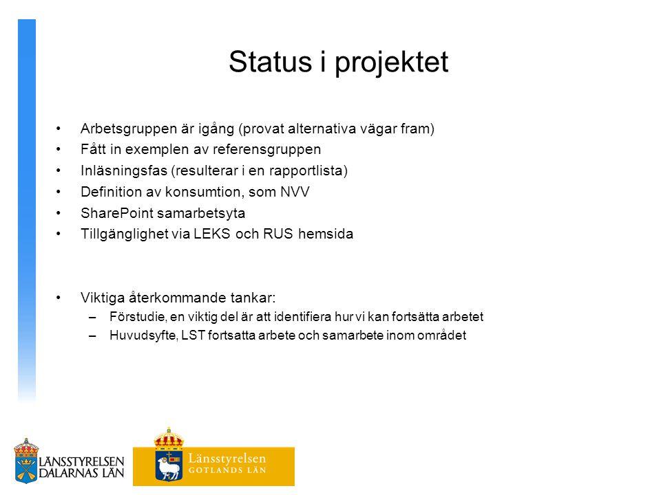 Status i projektet Arbetsgruppen är igång (provat alternativa vägar fram) Fått in exemplen av referensgruppen.