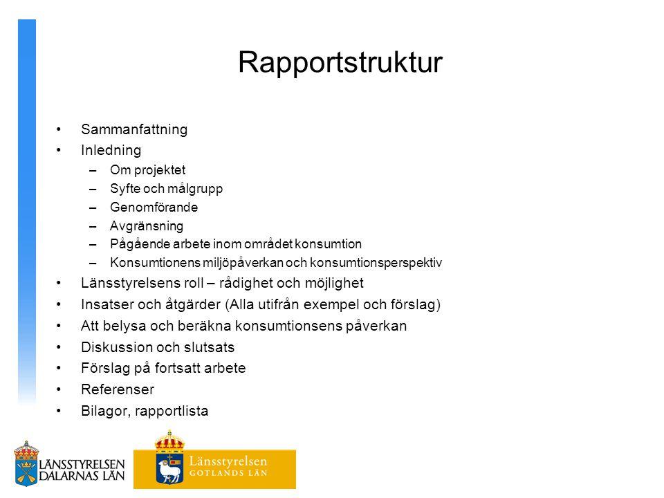 Rapportstruktur Sammanfattning Inledning