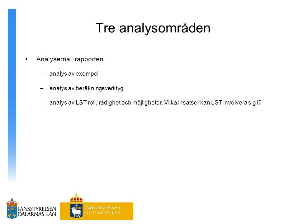 Tre analysområden Analyserna i rapporten analys av exempel