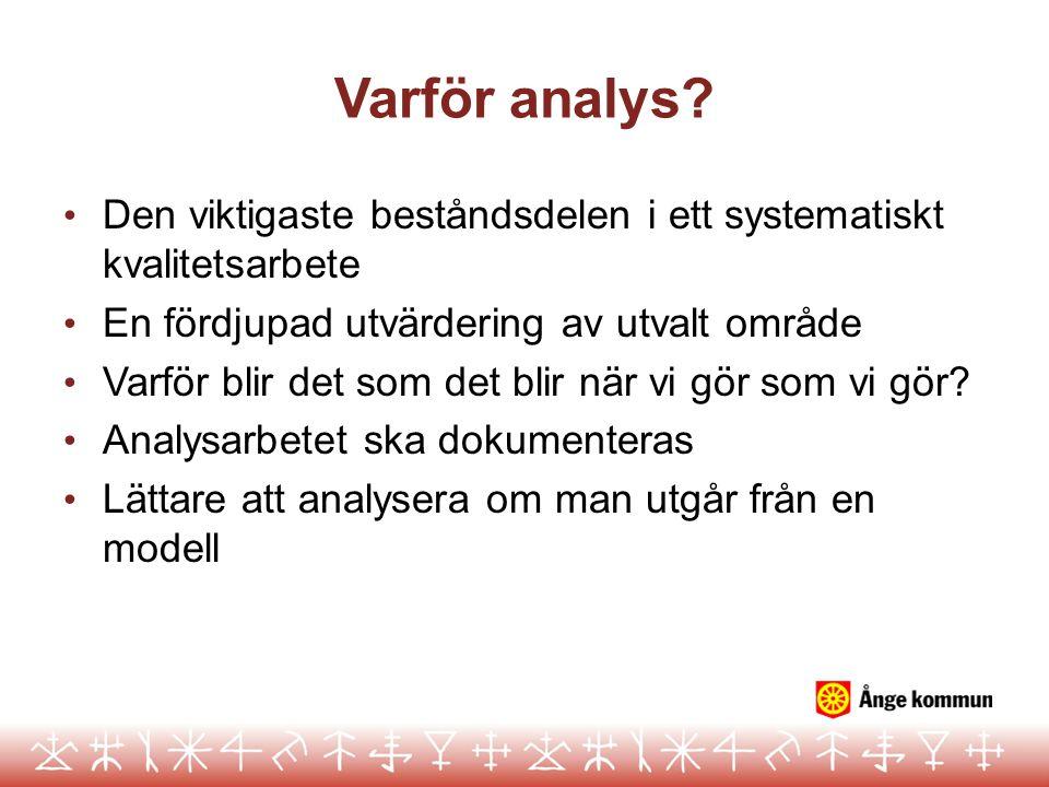 Varför analys Den viktigaste beståndsdelen i ett systematiskt kvalitetsarbete. En fördjupad utvärdering av utvalt område.