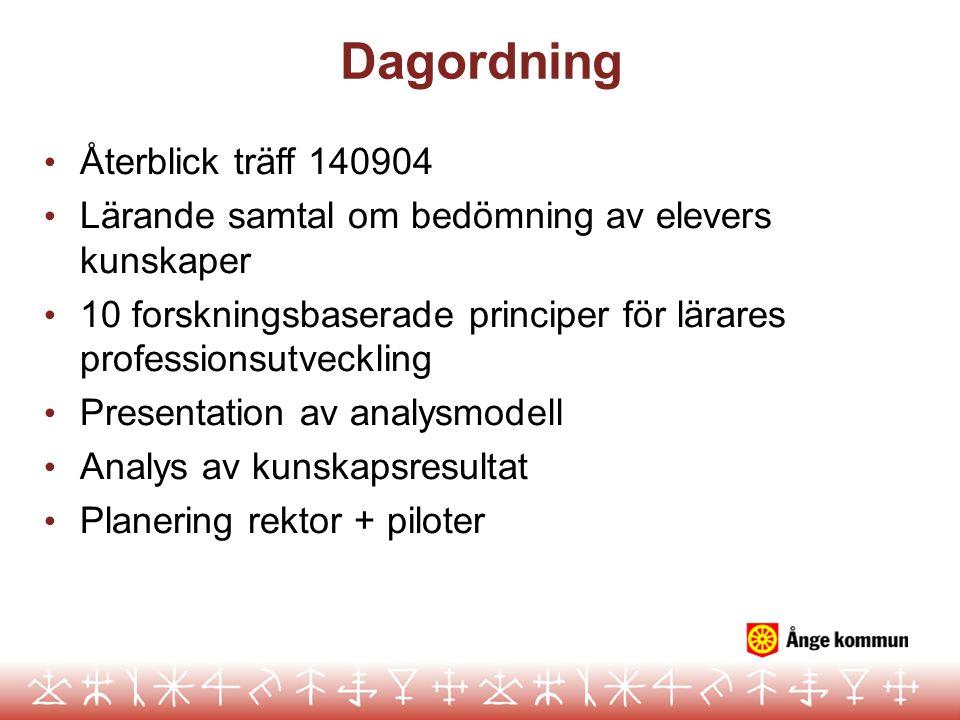 Dagordning Återblick träff 140904