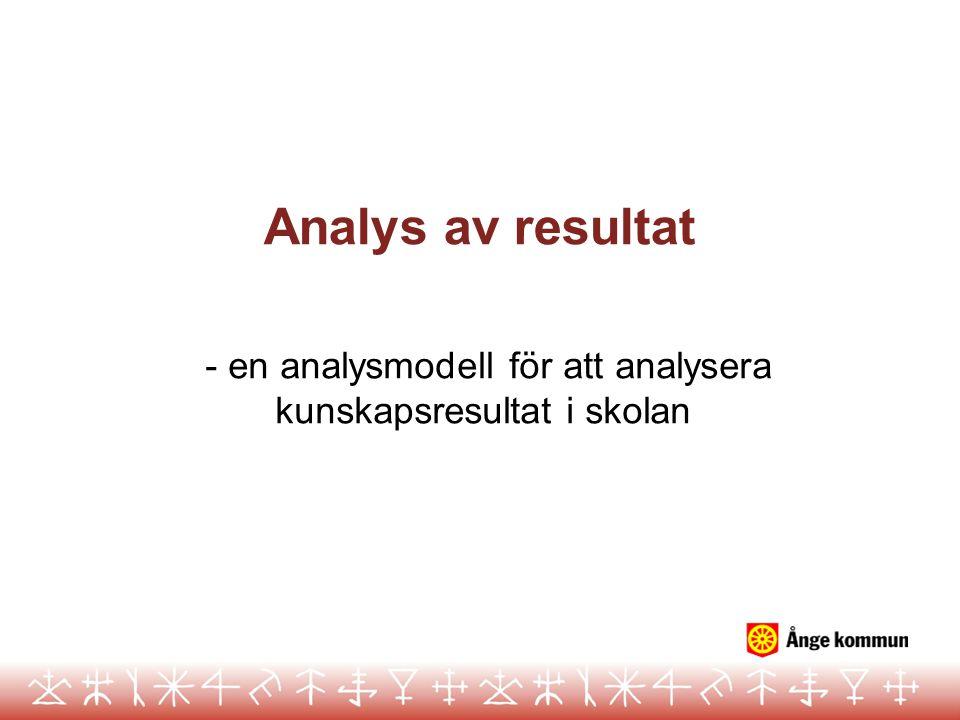 - en analysmodell för att analysera kunskapsresultat i skolan