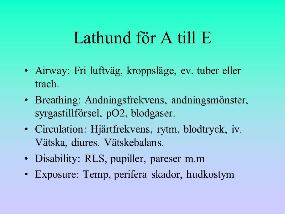 Lathund för A till E Airway: Fri luftväg, kroppsläge, ev. tuber eller trach.