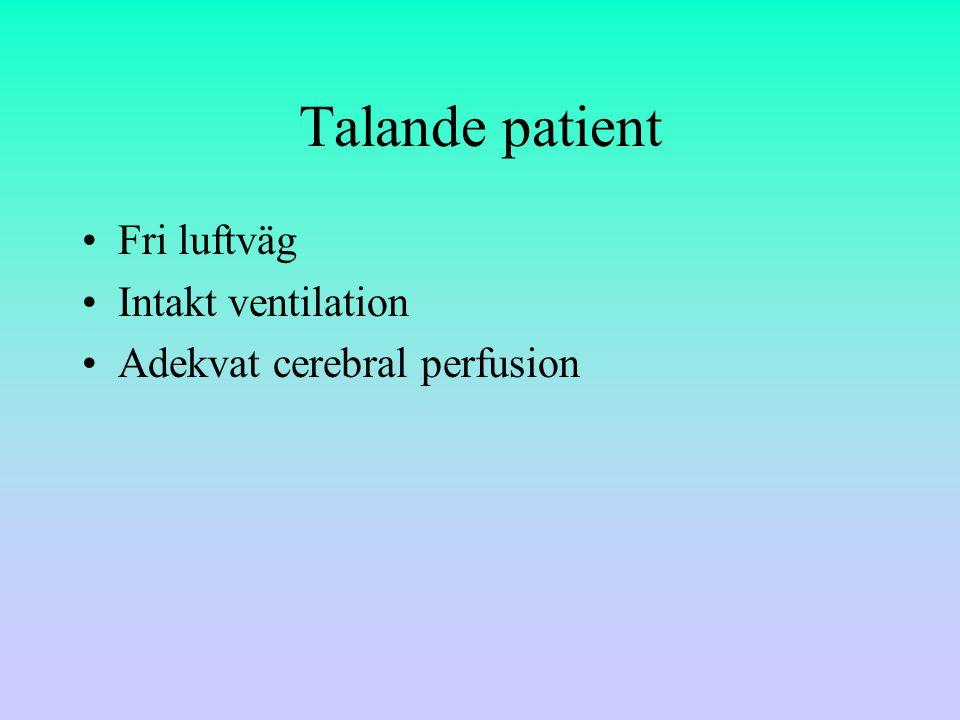 Talande patient Fri luftväg Intakt ventilation