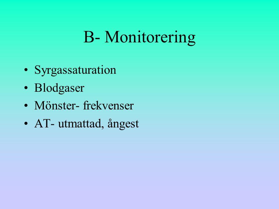 B- Monitorering Syrgassaturation Blodgaser Mönster- frekvenser
