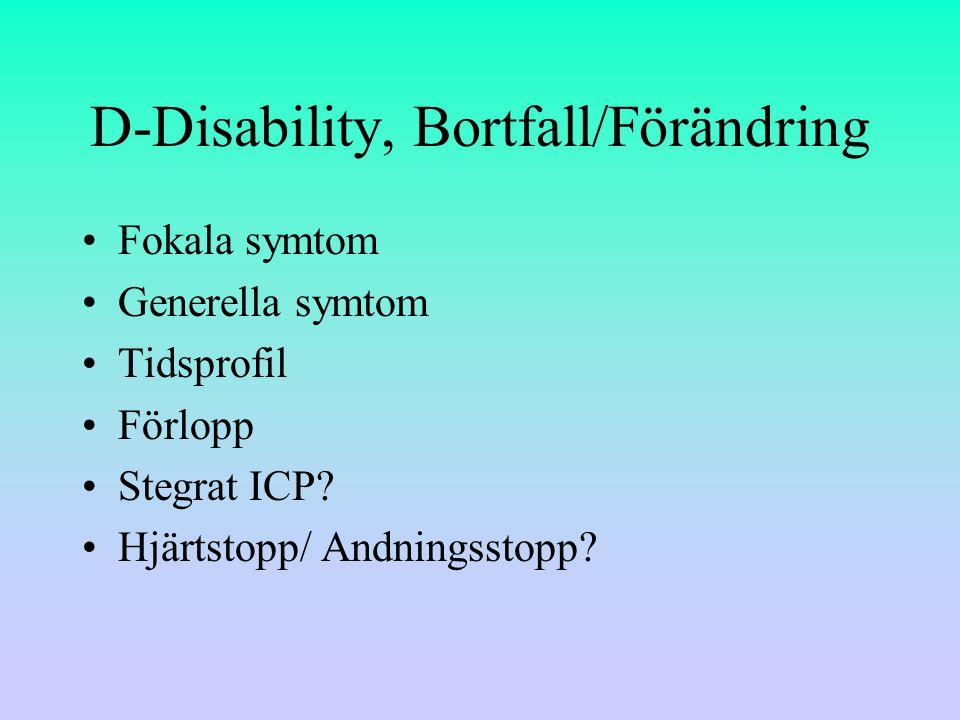 D-Disability, Bortfall/Förändring
