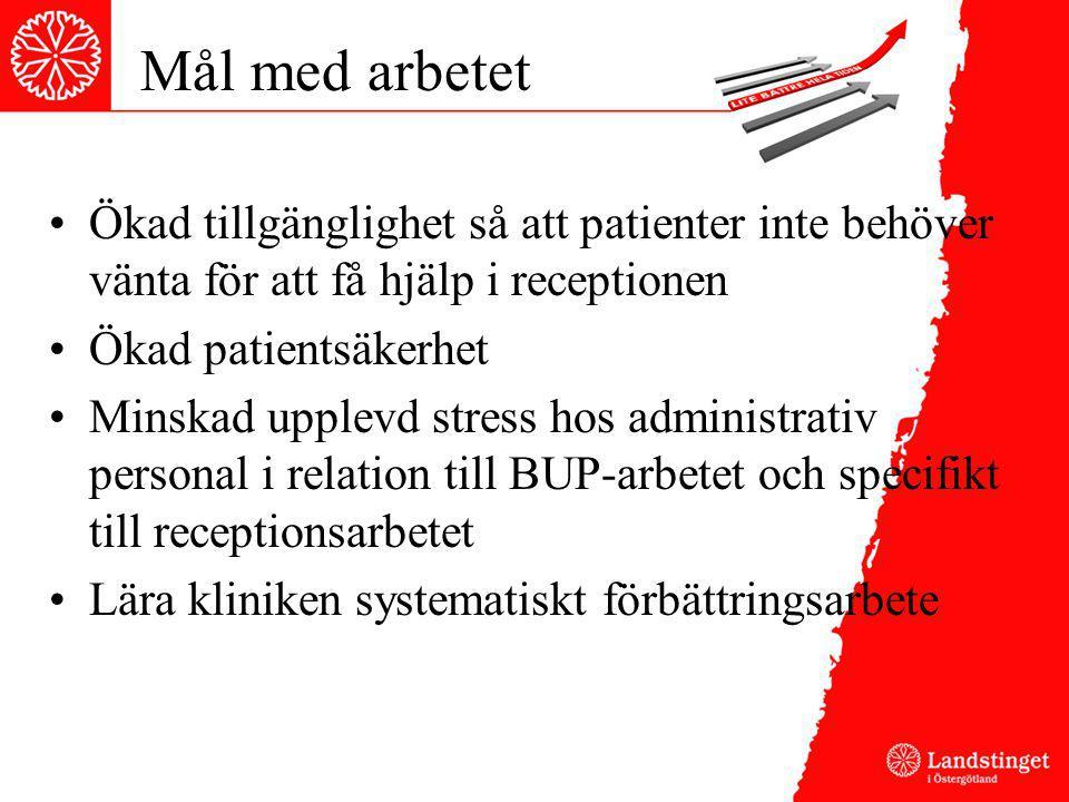 Mål med arbetet Ökad tillgänglighet så att patienter inte behöver vänta för att få hjälp i receptionen.