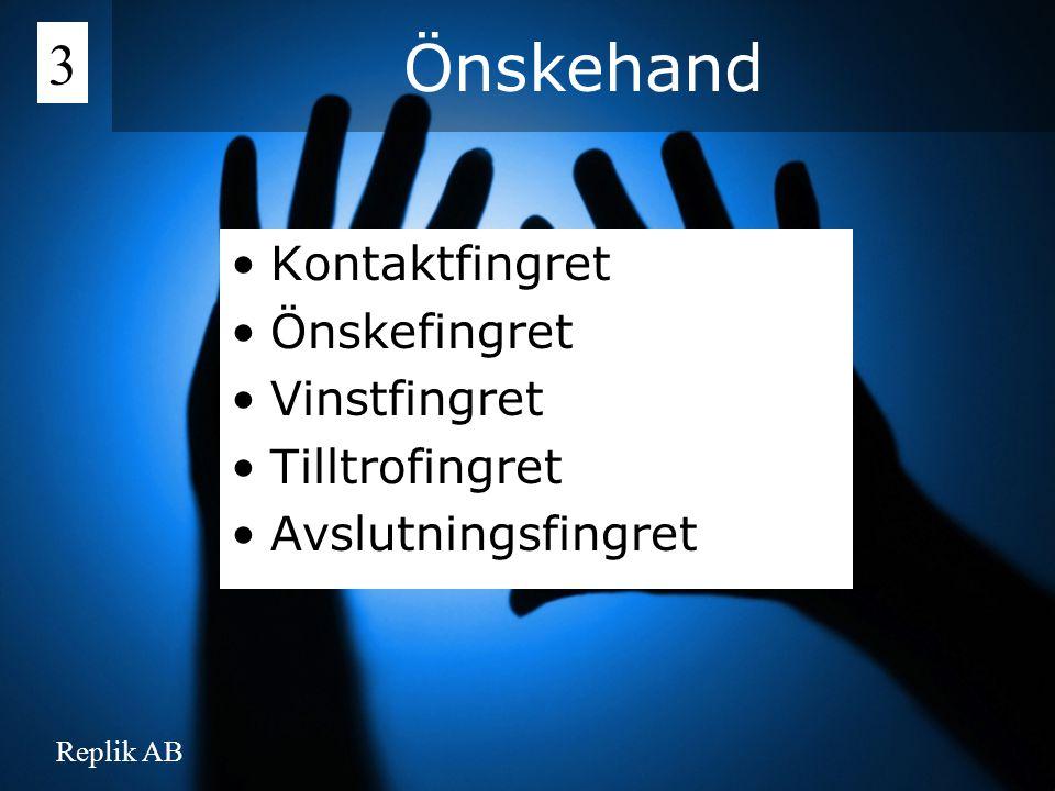 Önskehand 3 Kontaktfingret Önskefingret Vinstfingret Tilltrofingret