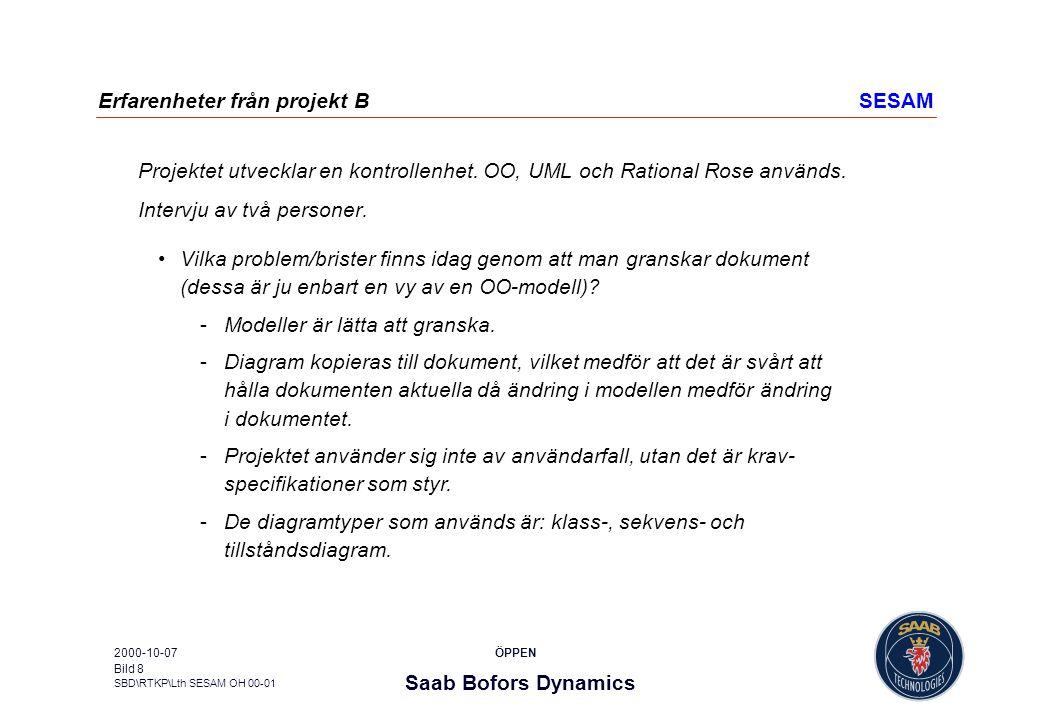 Erfarenheter från projekt B SESAM