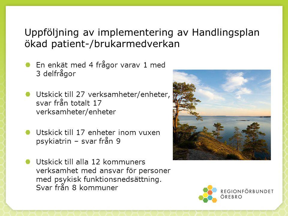 Uppföljning av implementering av Handlingsplan ökad patient-/brukarmedverkan