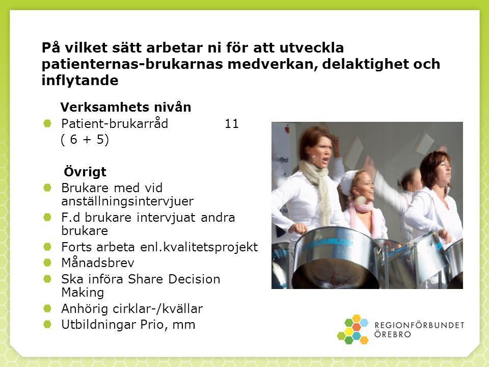 På vilket sätt arbetar ni för att utveckla patienternas-brukarnas medverkan, delaktighet och inflytande