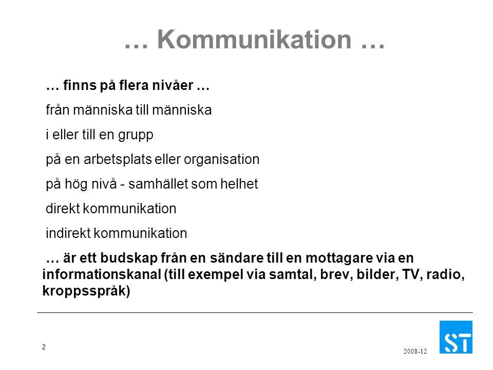 … Kommunikation … … finns på flera nivåer …