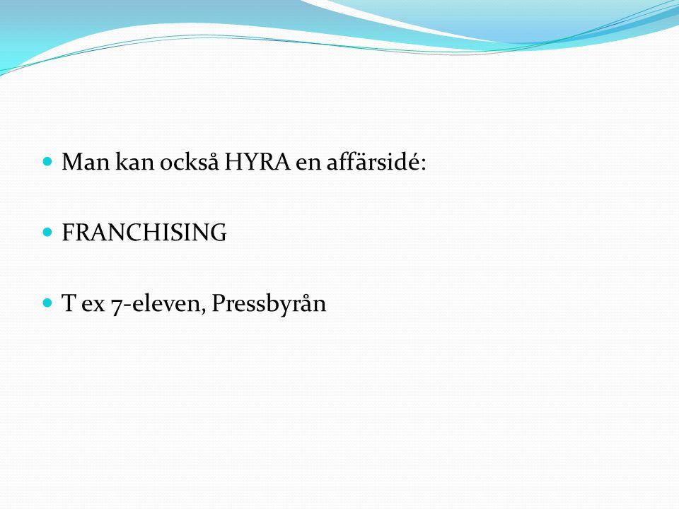 Man kan också HYRA en affärsidé: