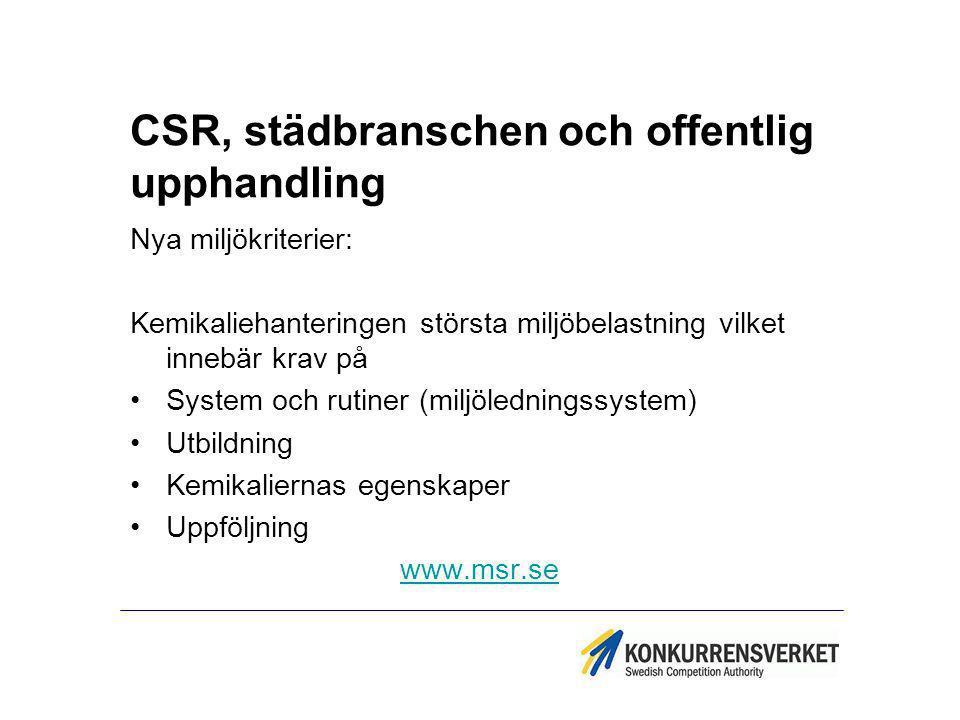 CSR, städbranschen och offentlig upphandling