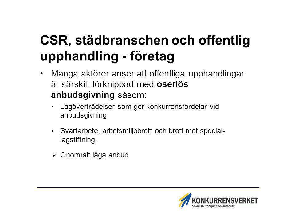 CSR, städbranschen och offentlig upphandling - företag