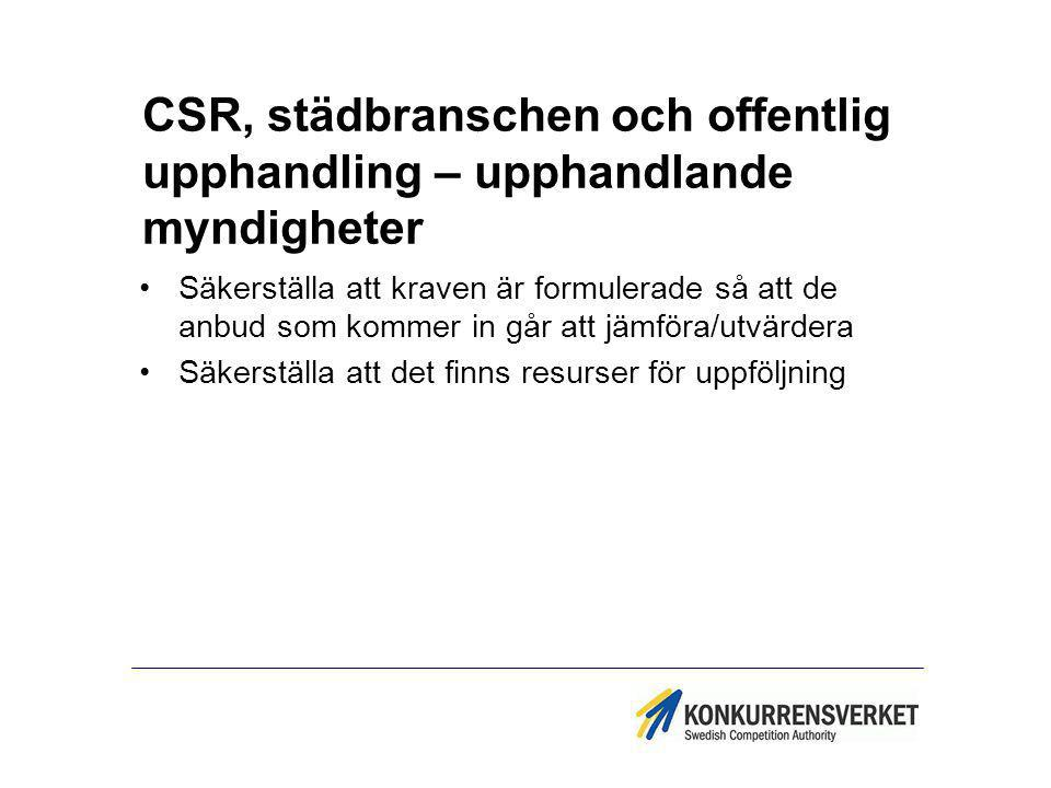 CSR, städbranschen och offentlig upphandling – upphandlande myndigheter