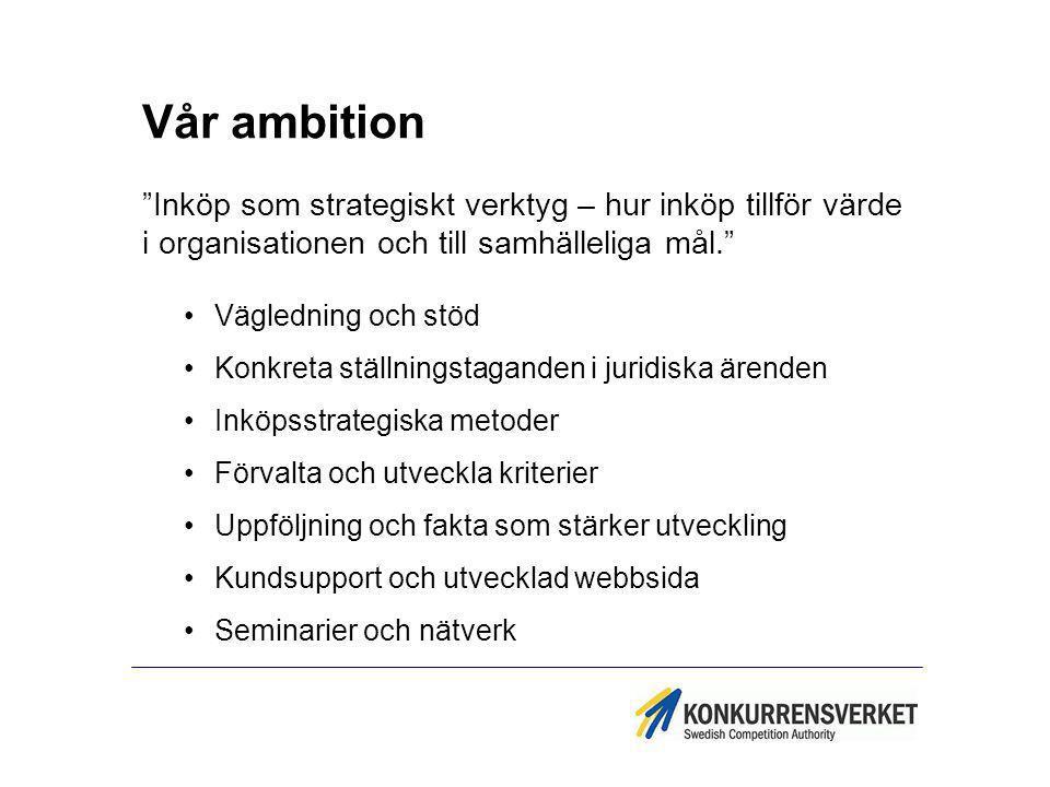 Vår ambition Inköp som strategiskt verktyg – hur inköp tillför värde i organisationen och till samhälleliga mål.