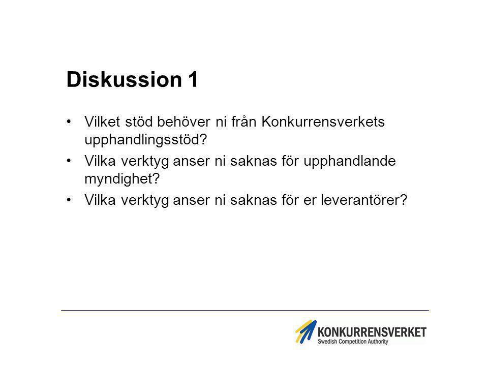 Diskussion 1 Vilket stöd behöver ni från Konkurrensverkets upphandlingsstöd Vilka verktyg anser ni saknas för upphandlande myndighet