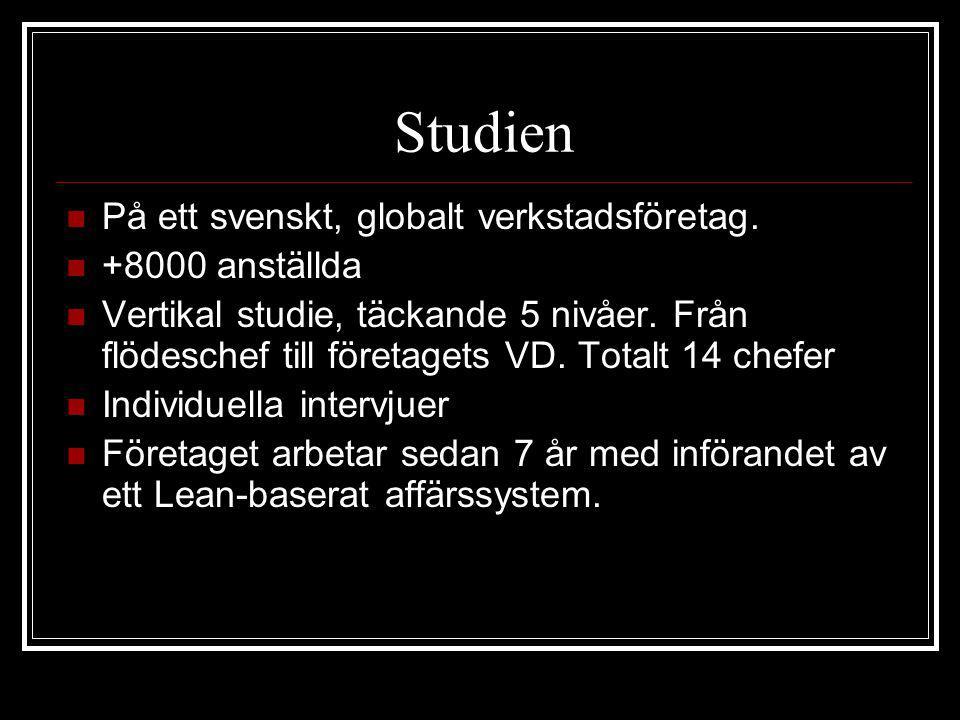 Studien På ett svenskt, globalt verkstadsföretag. +8000 anställda