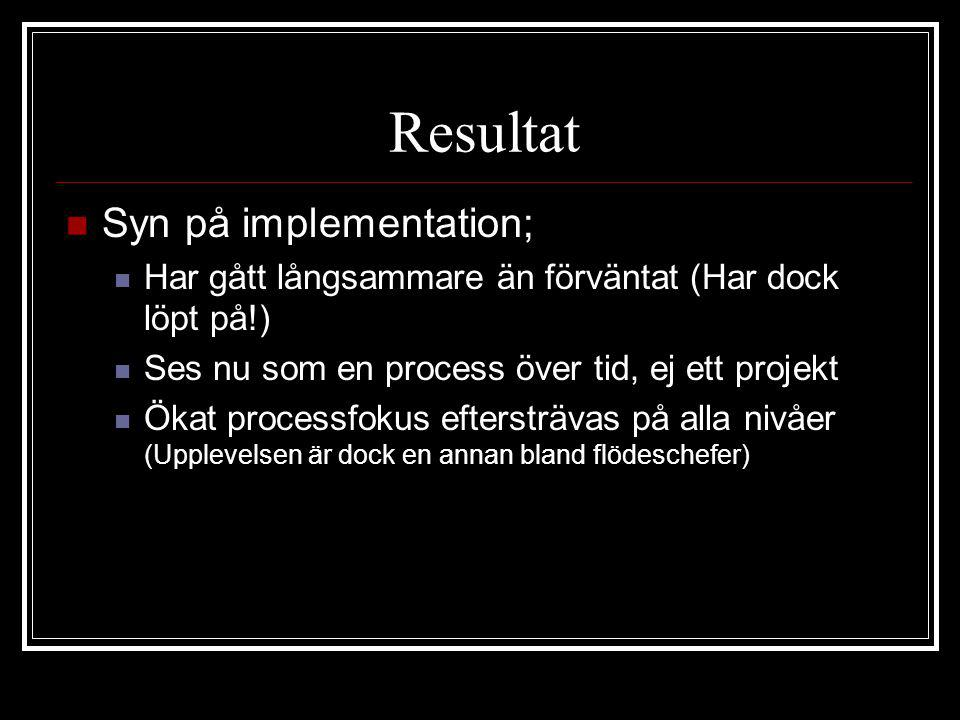 Resultat Syn på implementation;