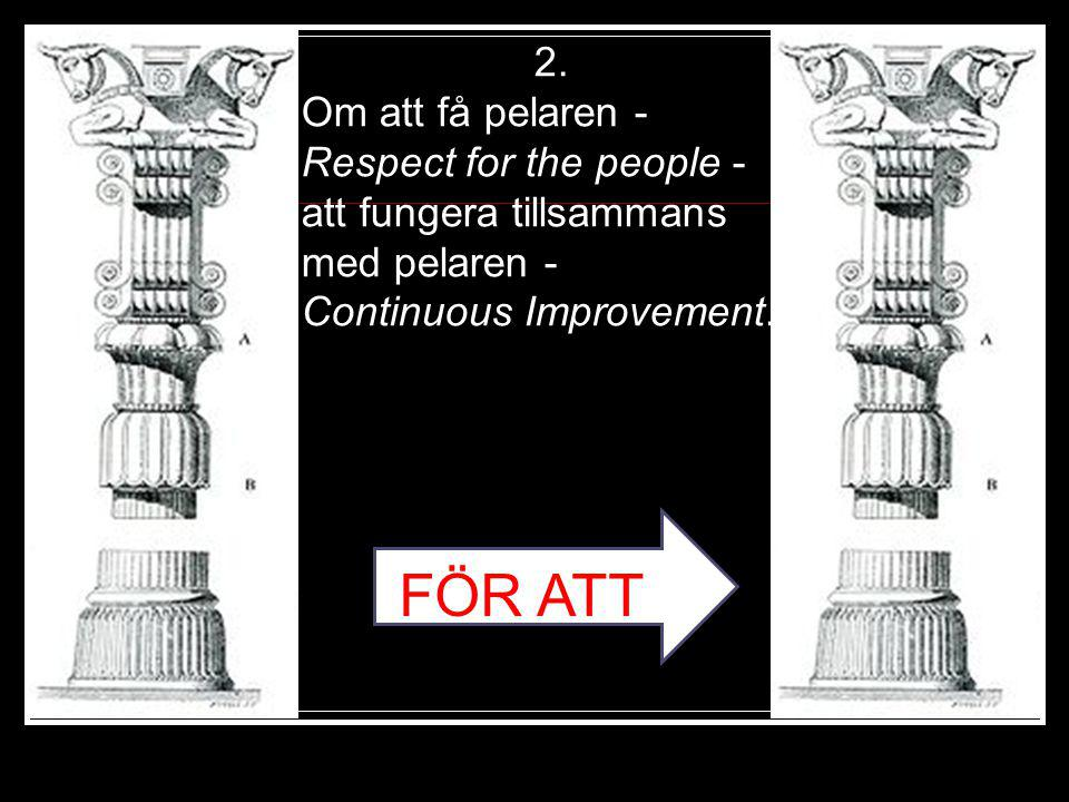 2. Om att få pelaren - Respect for the people - att fungera tillsammans med pelaren - Continuous Improvement.