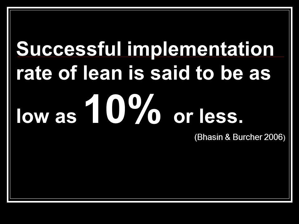 Successful implementation rate of lean is said to be as low as 10% or less.