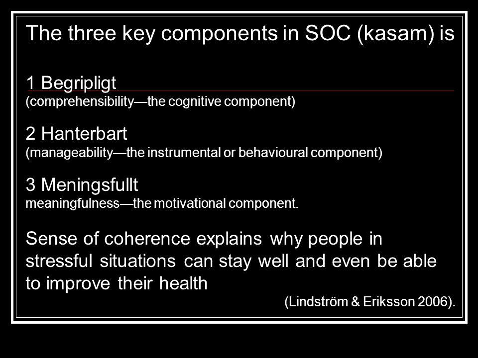 The three key components in SOC (kasam) is