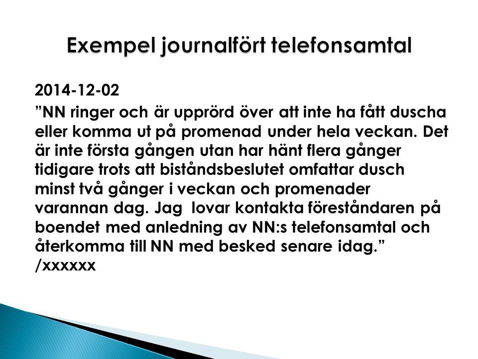Exempel journalfört telefonsamtal