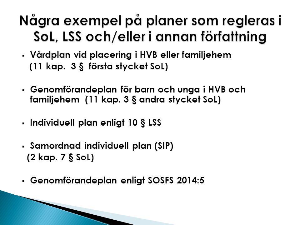 Några exempel på planer som regleras i SoL, LSS och/eller i annan författning