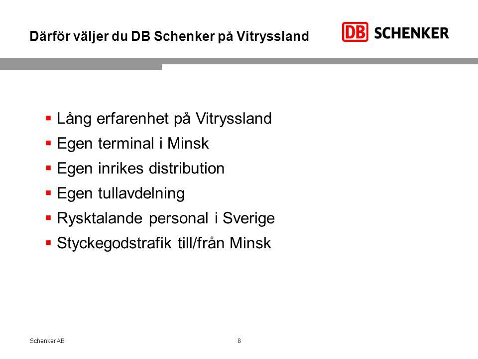 Därför väljer du DB Schenker på Vitryssland