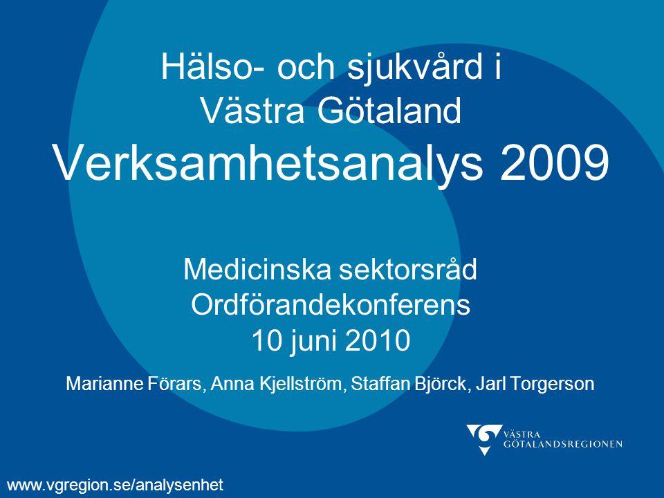 Hälso- och sjukvård i Västra Götaland Verksamhetsanalys 2009 Medicinska sektorsråd Ordförandekonferens 10 juni 2010 Marianne Förars, Anna Kjellström, Staffan Björck, Jarl Torgerson