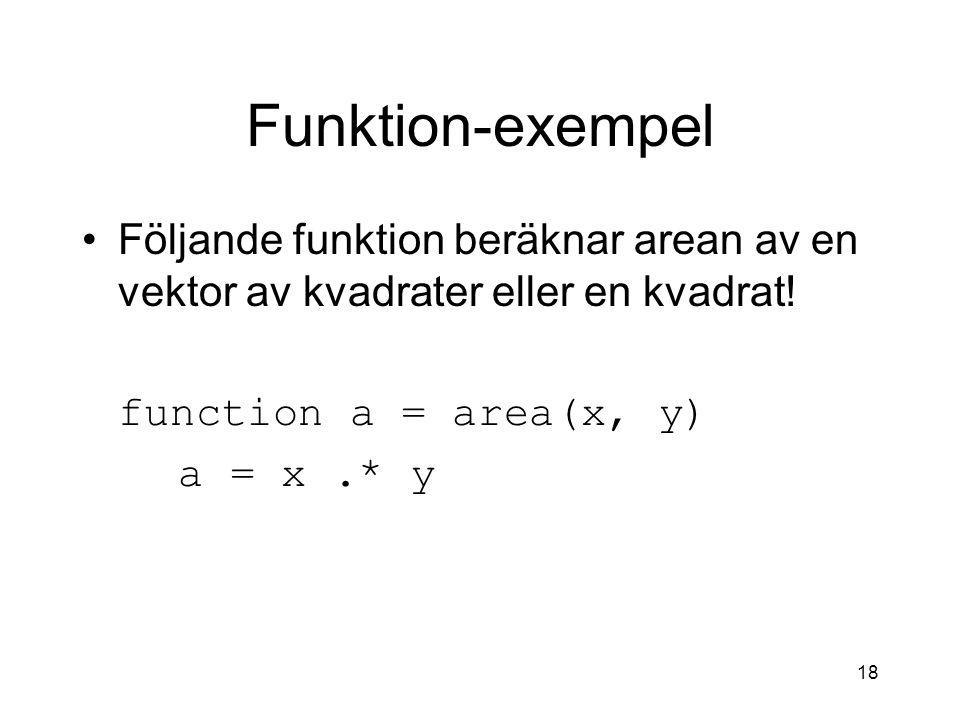 Funktion-exempel Följande funktion beräknar arean av en vektor av kvadrater eller en kvadrat! function a = area(x, y)