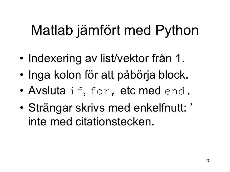 Matlab jämfört med Python