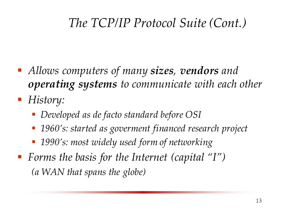 The TCP/IP Protocol Suite (Cont.)