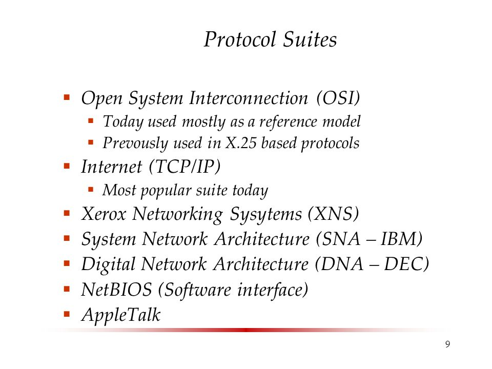Protocol Suites Open System Interconnection (OSI) Internet (TCP/IP)