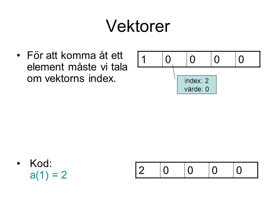 Vektorer För att komma åt ett element måste vi tala om vektorns index. Kod: a(1) = 2. 1. index: 2.