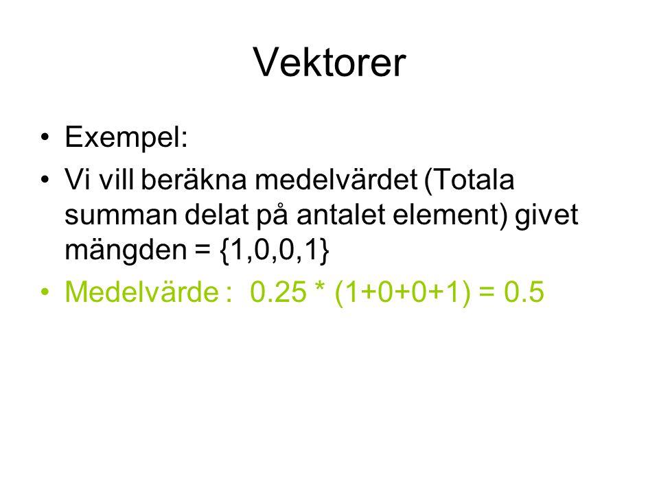 Vektorer Exempel: Vi vill beräkna medelvärdet (Totala summan delat på antalet element) givet mängden = {1,0,0,1}
