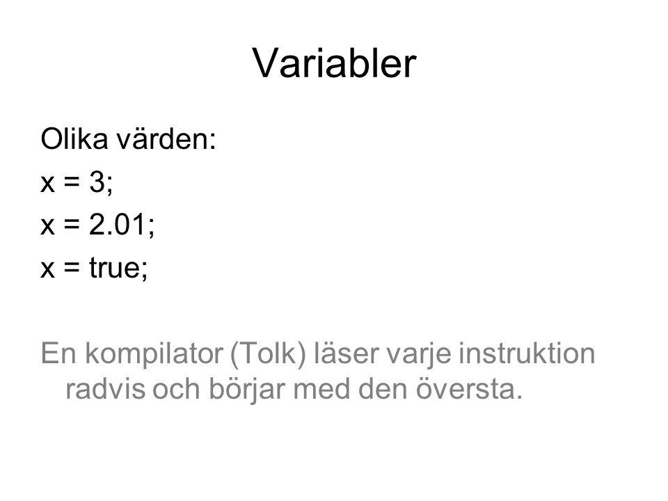 Variabler Olika värden: x = 3; x = 2.01; x = true;