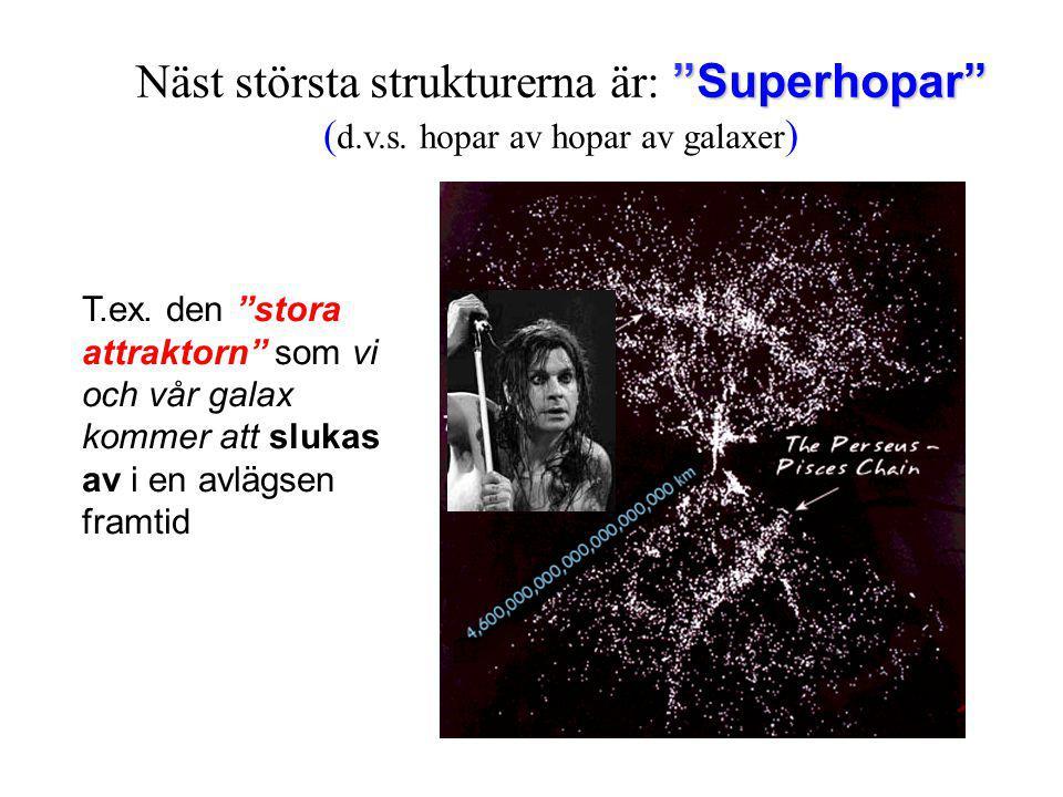 Näst största strukturerna är: Superhopar